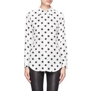 EQUIPMENT | silk polka dot button down blouse top